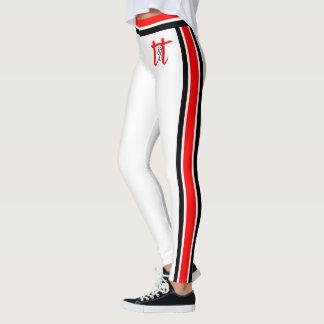 Listras vermelhas/pretas no branco legging