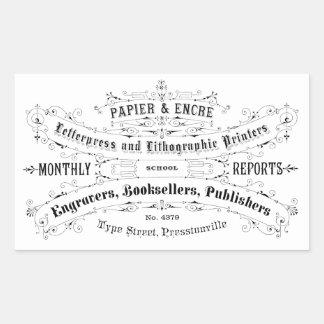 livreiros do anúncio da tipografia do vintage adesivo retangular