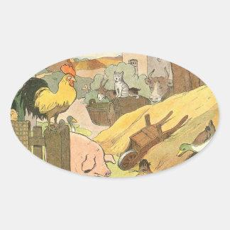 Livro da história dos animais de fazenda ilustrado adesivo oval