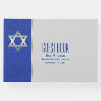 Livro de hóspedes de prata de Mitzvah do bar da