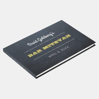 Livro de hóspedes dourado de Mitzvah do bar do