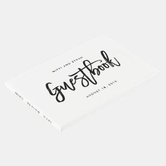 Livro de hóspedes EDITÁVEL escovado do casamento