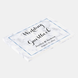 Livro De Visitas Casamento de mármore azul romântico