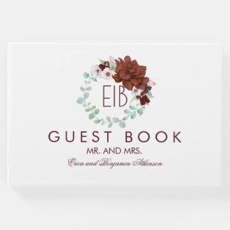Livro De Visitas Casamento elegante floral de Borgonha