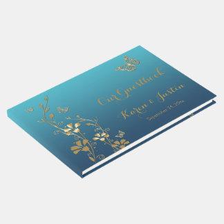 Livro De Visitas Cerceta, ouro floral, borboletas que Wedding o