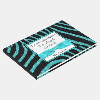 Livro De Visitas Guestbook de Mitzvah do bastão do brilho da zebra