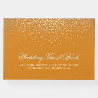 Livro De Visitas O confete de prata elegante pontilha o casamento