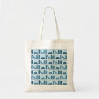 Livros azuis na prateleira bolsa para compras