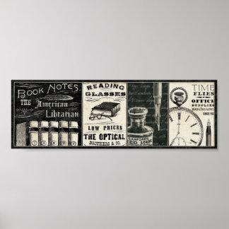 Livros e materiais de escritório do vintage poster