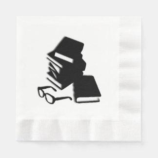 Livros e vidros guardanapo de papel