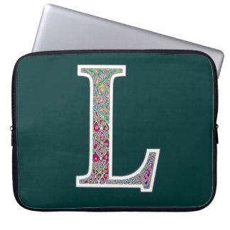 Ll iluminou a bolsa de laptop do monograma bolsas e capas de notebook