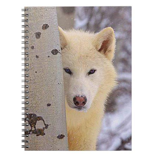 Lobo branco caderno espiral