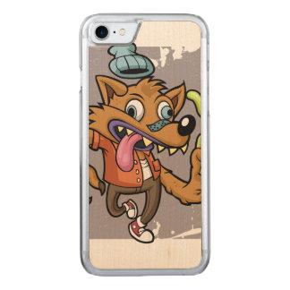 Lobo do hipster dos desenhos animados com soda capa para iPhone 7 carved
