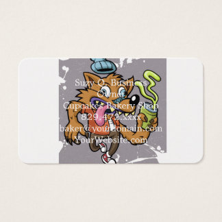 Lobo do hipster dos desenhos animados com soda cartão de visita