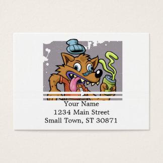 Lobo do hipster dos desenhos animados com soda cartão de visita grande