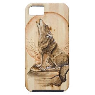 Lobo do urro no caso de madeira do iPhone 5 Carved Capa Tough Para iPhone 5