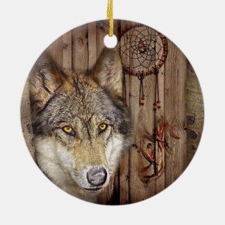Lobo ideal ocidental do indiano do nativo ornamento de cerâmica redondo