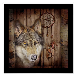 Lobo ideal ocidental do indiano do nativo pôster