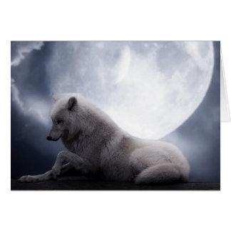 Lobo impressionante e lobo branco da lua cartão comemorativo