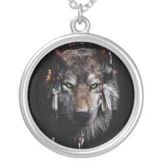 Lobo indiano - lobo cinzento colar banhado a prata