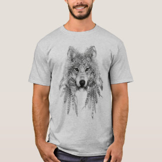 Lobo no t-shirt nativo do roupa