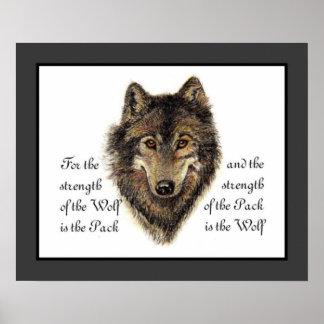 Lobos, lobo da aguarela & citações do bloco, natur pôster