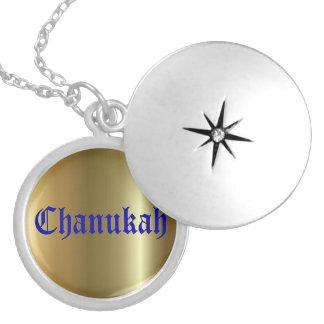 Locket chapeado de Chanukah prata redonda dourada  Colar Medalhão