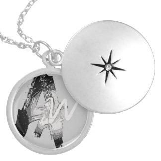 Locket chapeado do escritor prata impressionante colar medalhão