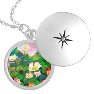 Locket cor-de-rosa floral bonito do pendente do colar banhado a prata