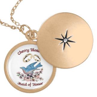 Locket da madrinha de casamento da flor de cerejei colar banhado a ouro