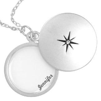 Locket de prata redondo colar medalhão