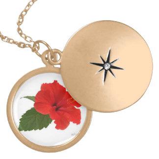 Locket do hibiscus colar banhado a ouro