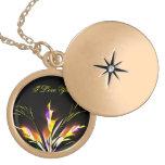 Locket do revestimento do ouro da flor do baihe do colar personalizado