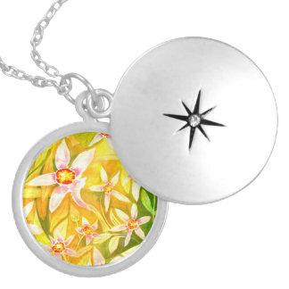 Locket floral do Pendant/do Watercolour bonito Colar Medalhão