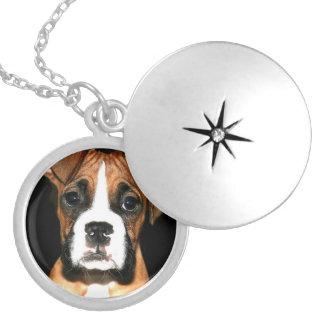 Locket redondo do revestimento da prata do cão do  colar banhado a prata