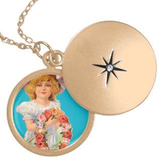 Locket redondo do revestimento do ouro do vintage colar medalhão