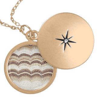 Locket redondo médio do mosaico bege colar medalhão