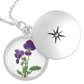 Locket violeta colar medalhão