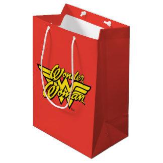 Logotipo 1 da mulher maravilha sacola para presentes média