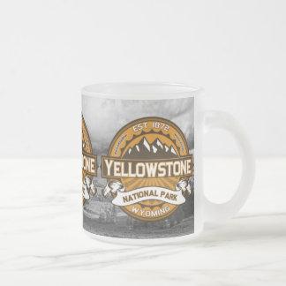 Logotipo amarelo dourado do parque nacional de caneca de café vidro jateado