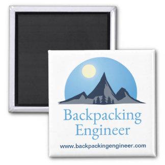 Logotipo Backpacking do engenheiro Ímã Quadrado