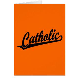 Logotipo católico do roteiro no preto cartão comemorativo