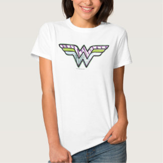 Logotipo colorido do esboço da mulher maravilha t-shirts