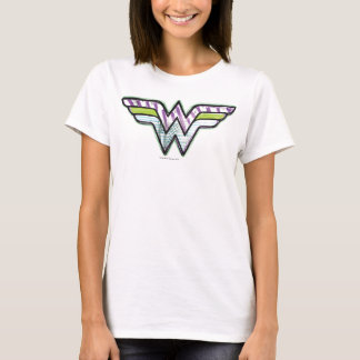 Logotipo colorido do esboço da mulher maravilha tshirts