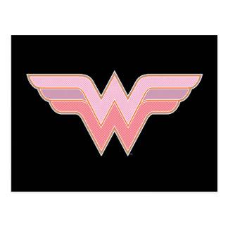 Logotipo cor-de-rosa e alaranjado da mulher cartão postal