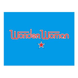 Logotipo da estrela vermelha e azul da mulher cartão postal