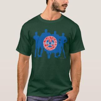 Logotipo da liga de justiça e fundo contínuo do t-shirt