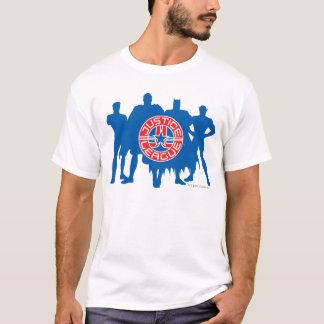 Logotipo da liga de justiça e fundo contínuo do tshirt