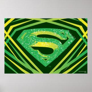 Logotipo decorativo verde do superman poster