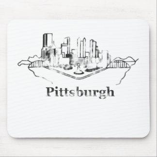 Logotipo desvanecido da skyline da cidade de Pitts Mouse Pad